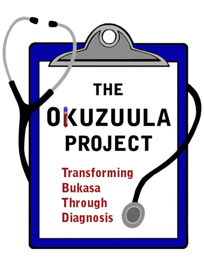 """A blue clip board with a stethoscope wrapped around the clipboard. Inside the clipboard in big black letters it says """"The Okuzuula Project"""". Below that are the words """"Transforming Bukasa Through Diagnosis"""" in medium red letters."""