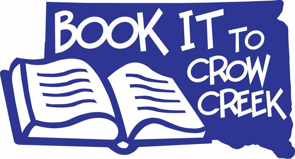 """A blue box with a white book in the bottom left corner. The rest of the box is filled with the words """"BOOK IT to Crow Creek"""" in white lettering"""