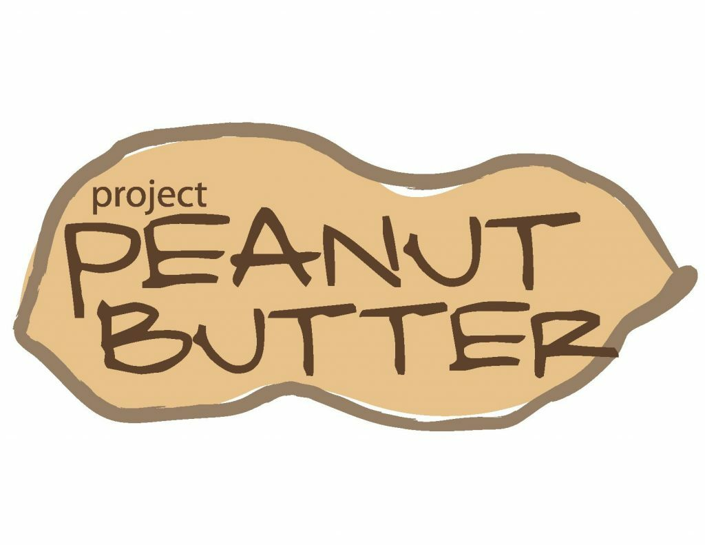 """A drawing of a peanut with the words """"project PEANUT BUTTER"""" in dark brown inside the peanut"""