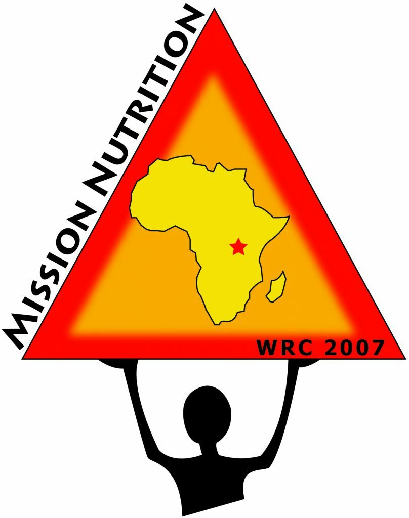 """At the bottom is the outline of a person holding up a red triangle with the outline of Africa in the middle of the triangle. On the bottom of the triangle are the words """"WRC 2007"""" in small black lettering. On the left side of the triangle in big black letters it says """"MISSION NUTRITION"""""""