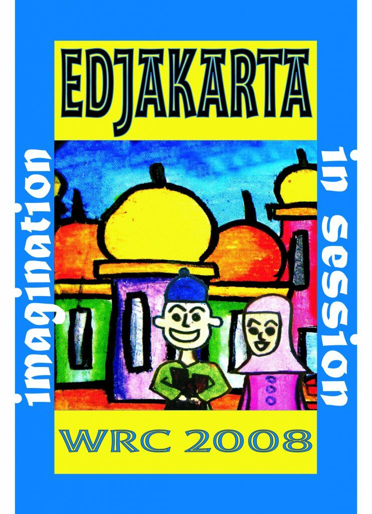 """A bright blue rectangle. In the middle is an drawing of some buildings with two people in front. On the left side of the drawing is the word """"imagination"""" in white letters and on the right in white letters """"in session"""". Below the drawing in yellow it says """"WRC 2008"""" and on top of the drawing """"EDJAKARTA"""""""