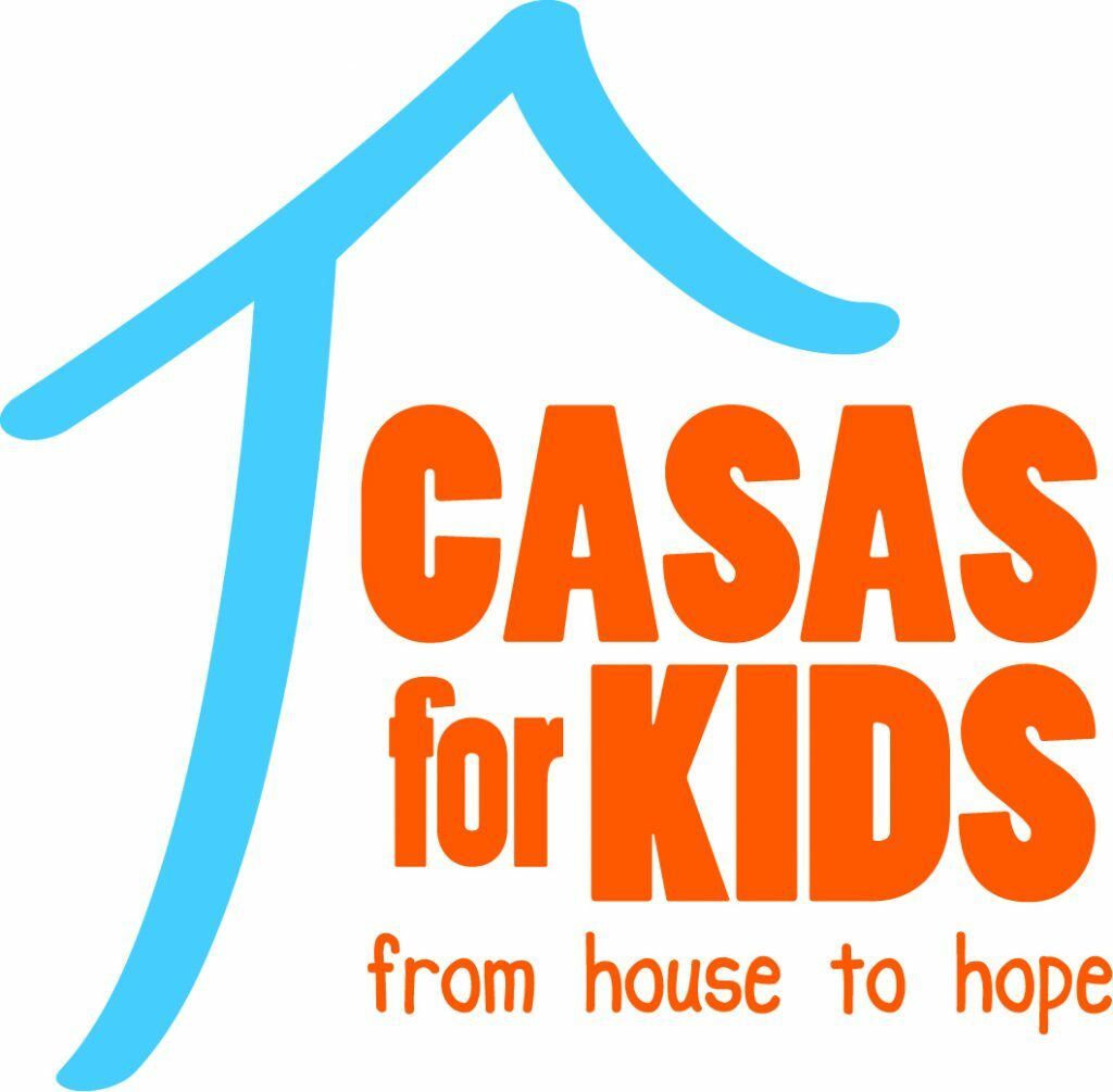 """A blue outline of a house with the words """"Casas for kids"""" in big orange letters and in small orange letters """"from house to hope"""""""