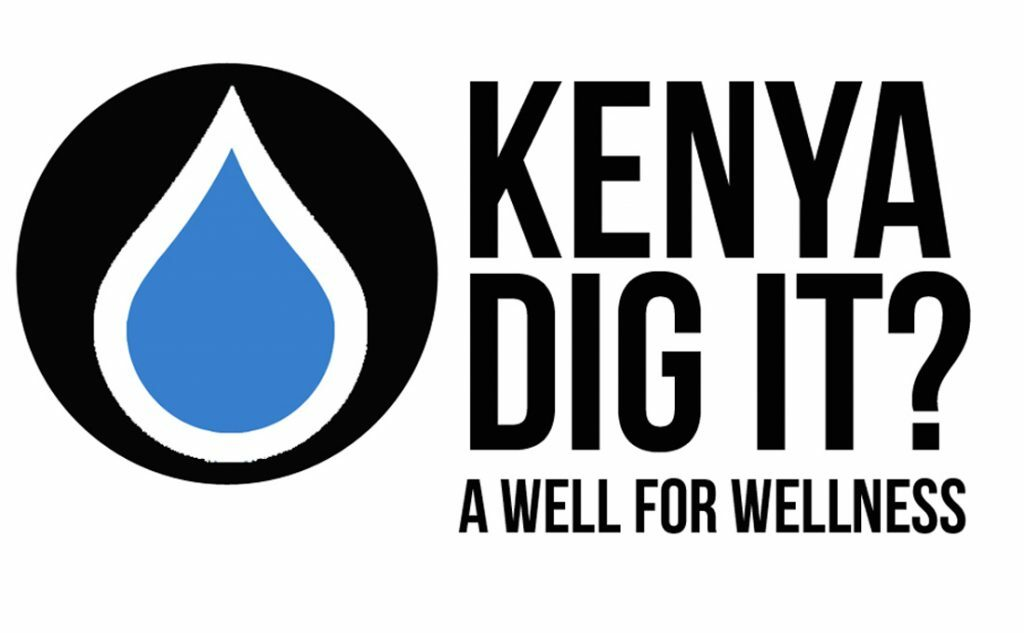 """On the left side of the image is black circle with a blue raindrop inside. On the right side in black letters are the words """"Kenya dig it? A well for wellness"""""""
