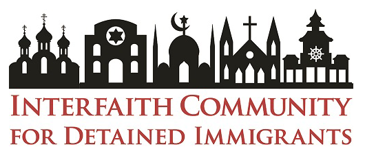 "A white rectangle. 3 rows of graphics. The top row contains black outlines of 5 houses of worship. From left to right, there is a cathedral, synagogue, mosque, church, and buddhist temple. The second row says ""Interfaith Community"" in red letters and the third row says ""For Detained Immigrants"" in red letters."