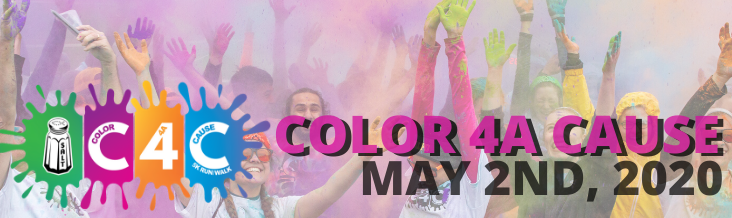 "The words ""Color 4A Cause May 2nd, 2020"" and the C4C Logo (the words C4C and salt shaker over bright color splotches"". These words are overlaid on an image from the 2019 Color 4A Cause where a large group of people are throwing up color powder into the air."